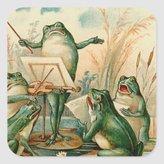 Frog Chorus Vintage Illustration Square Sticker