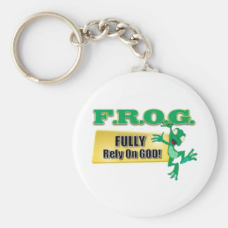 FROG CHRISTIAN ACRONYM FULLY RELY ON GOD BASIC ROUND BUTTON KEYCHAIN