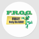 FROG CHRISTIAN ACRONYM FULLY RELY ON GOD CLASSIC ROUND STICKER