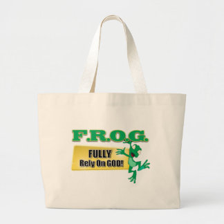 FROG CHRISTIAN ACRONYM FULLY RELY ON GOD LARGE TOTE BAG