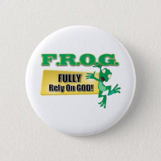 FROG CHRISTIAN ACRONYM FULLY RELY ON GOD PINBACK BUTTON