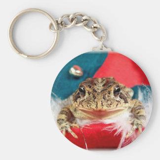 Frog Christmas , Tinsel, feathers, santa pattern Key Chain