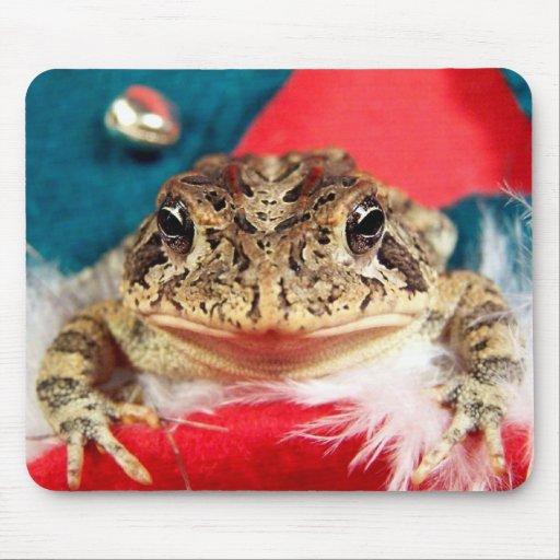 Frog Christmas , Tinsel, feathers, santa pattern Mousepad