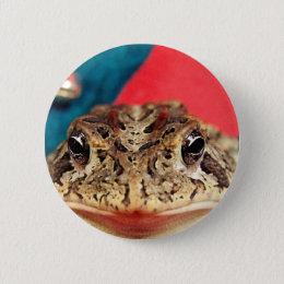 Frog Christmas , Tinsel, feathers, santa pattern Pinback Button