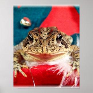 Frog Christmas , Tinsel, feathers, santa pattern Print