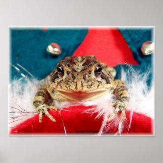 Frog Christmas , Tinsel, feathers, santa pattern Poster