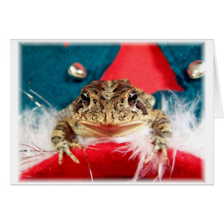 Frog Christmas , Tinsel, feathers, santa pattern Stationery Note Card