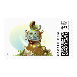 Frog coming out from an UFO Postage Stamp