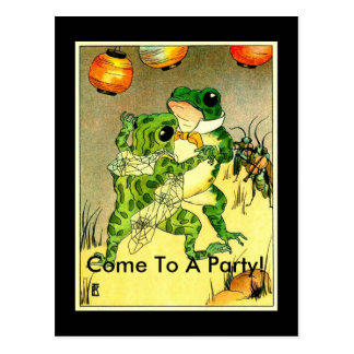 Frog Couple, Come To A Party! Postcard