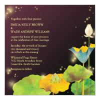 Frog Couple & Fireflies Whimsical Wedding Invitation