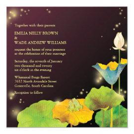 Frog Couple & Fireflies Whimsical Wedding Invites 5.25