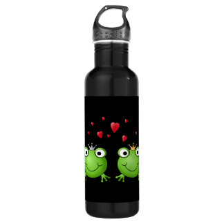 Frog Couple with hearts. 24oz Water Bottle