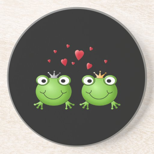 Frog Couple with hearts. Beverage Coasters