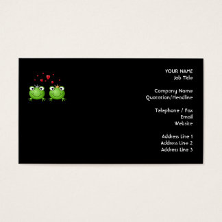 Frog Couple with hearts. Business Card