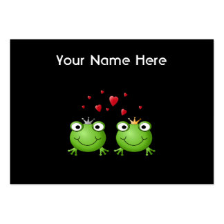 Frog Couple with hearts. Large Business Cards (Pack Of 100)