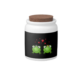 Frog Couple with hearts. Candy Dish
