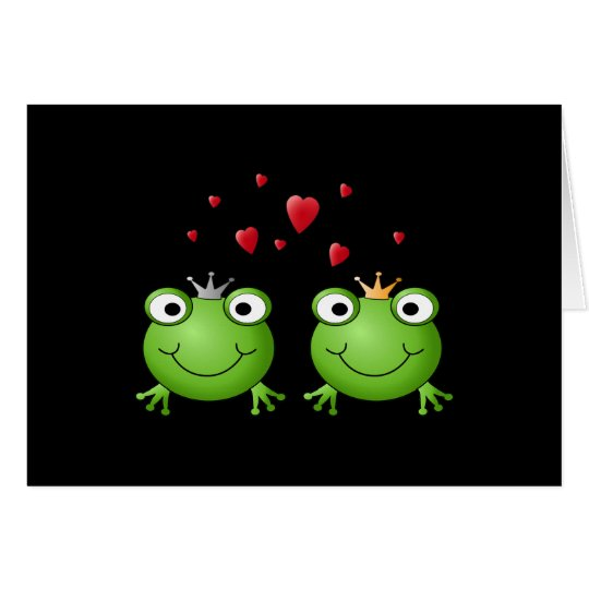 Frog Couple with hearts. Card
