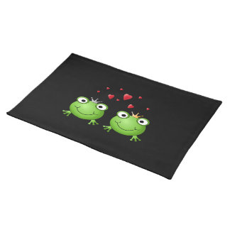 Frog Couple with hearts. Cloth Placemat