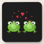 Frog Couple with hearts. Drink Coasters