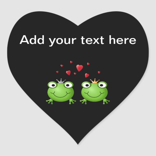 Frog Couple with hearts. Heart Sticker