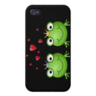 Frog Couple with hearts. Covers For iPhone 4