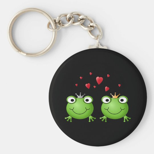 Frog Couple with hearts. Keychain