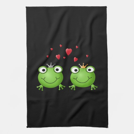 Frog Couple with hearts. Kitchen Towels