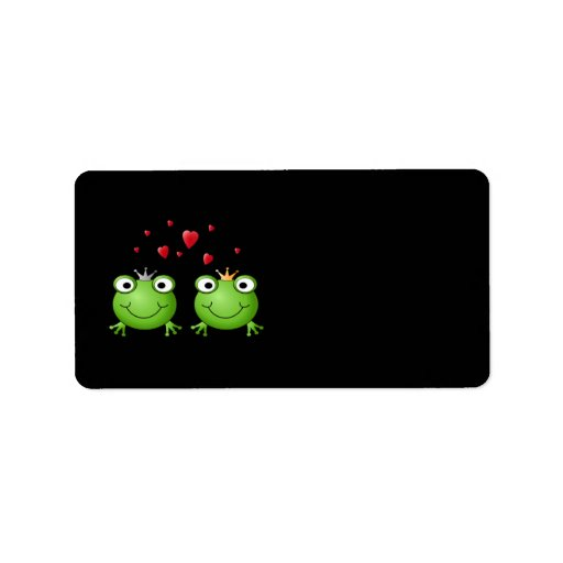 Frog Couple with hearts. Label
