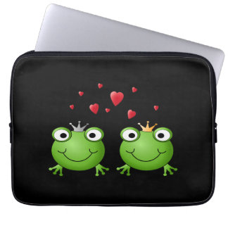 Frog Couple with hearts. Laptop Sleeve