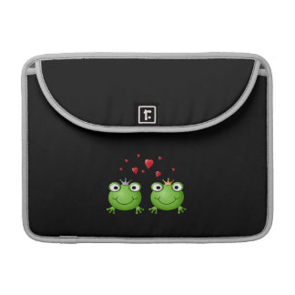 Frog Couple with hearts. Sleeves For MacBook Pro