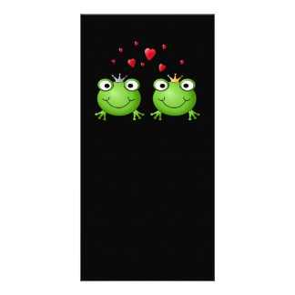 Frog Couple with hearts. Photo Card
