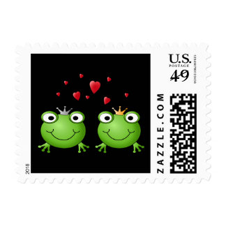 Frog Couple with hearts. Postage Stamp