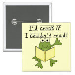 Frog Croak If I Couldn't Read Tshirts and Gifts 2 Inch Square Button