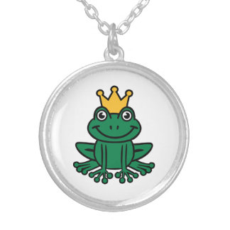Frog crown round pendant necklace