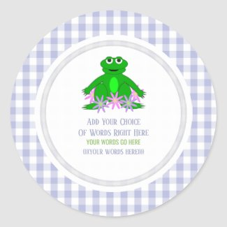 Frog Daisy And Gingham Classic Round Sticker