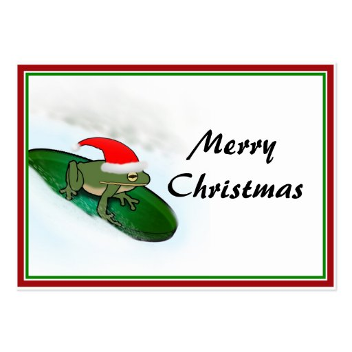 Frog Dashing Through the Snow on a Lily Pad Business Card Templates