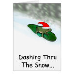 Frog Dashing Through the Snow on a Lily Pad Greeting Card