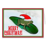 Frog Dashing Through the Snow on a Lily Pad Cards