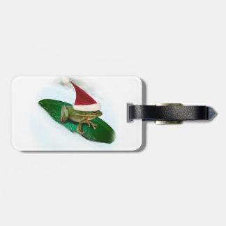 Frog Dashing Through the Snow on a Lily Pad Bag Tags