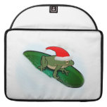 Frog Dashing Through the Snow on a Lily Pad MacBook Pro Sleeves