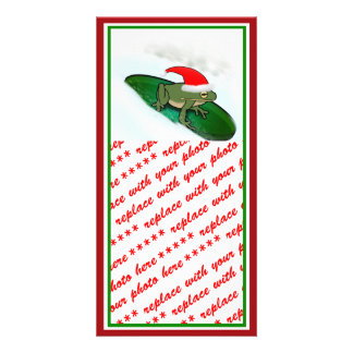 Frog Dashing Through the Snow on a Lily Pad Photo Card