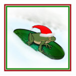 Frog Dashing Through the Snow on a Lily Pad Photo Cutout