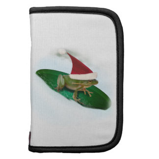 Frog Dashing Through the Snow on a Lily Pad Folio Planner