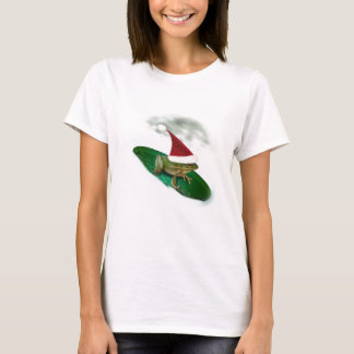 Frog Dashing Through the Snow on a Lily Pad T-Shirt