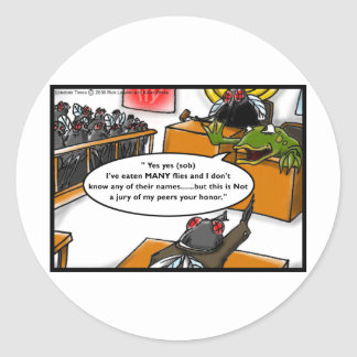 Frog Defendant Fly Jury Funny Gifts & Tees Classic Round Sticker