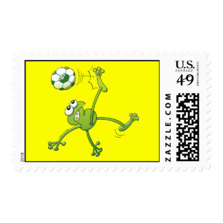 Frog Executing a Bycicle Kick with a Soccer Ball Postage Stamp