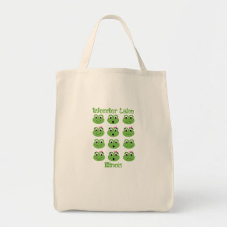 Frog Face Wonder Lake Grocery Tote