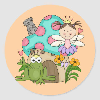 Frog Fairy Toadstool House Tshirts and Gifts Classic Round Sticker