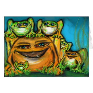 Frog father and his children card