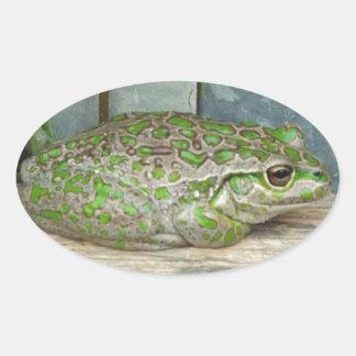 frog fence oval sticker